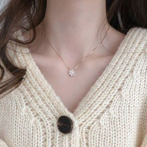 925 Sterling Silver Rose Gold Snowflake Necklace